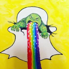 Snappy Snapchat Rainbow Puke Turtle Power