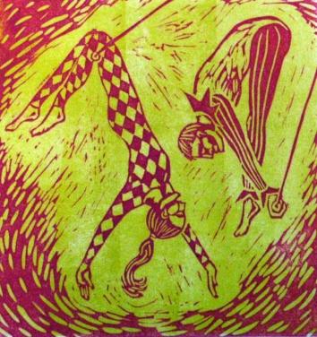 Acrobats Printmaking Linocut