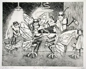 Bugs and Barflies Aquatint Etching Printmaking