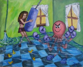 Octopus Abuse Acrylic Painting