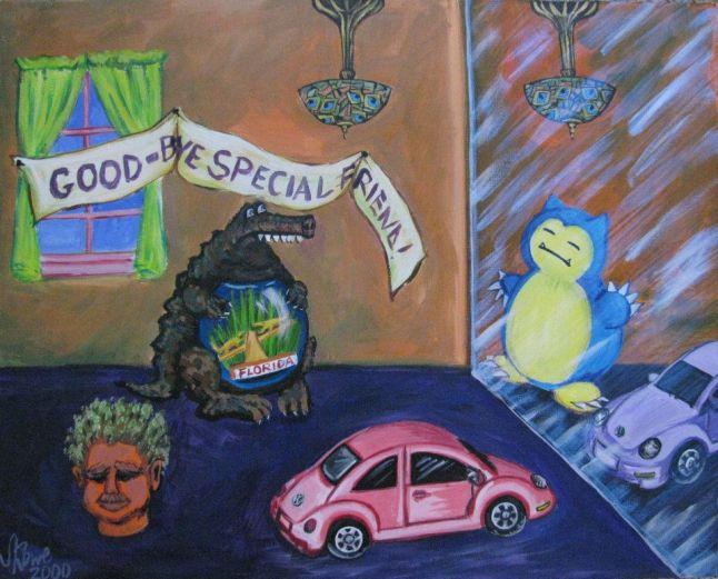 Goodbye Special Friend Pokemon Snorlax Acrylic Painting