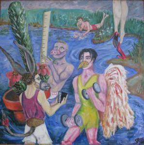 Male Vanity Narcissism Acrylic Painting