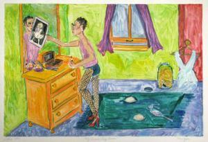Watercolor Monotype Eleanor Rigby Printmaking