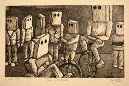 Paper Not Plastic Aquatint etching printmaking