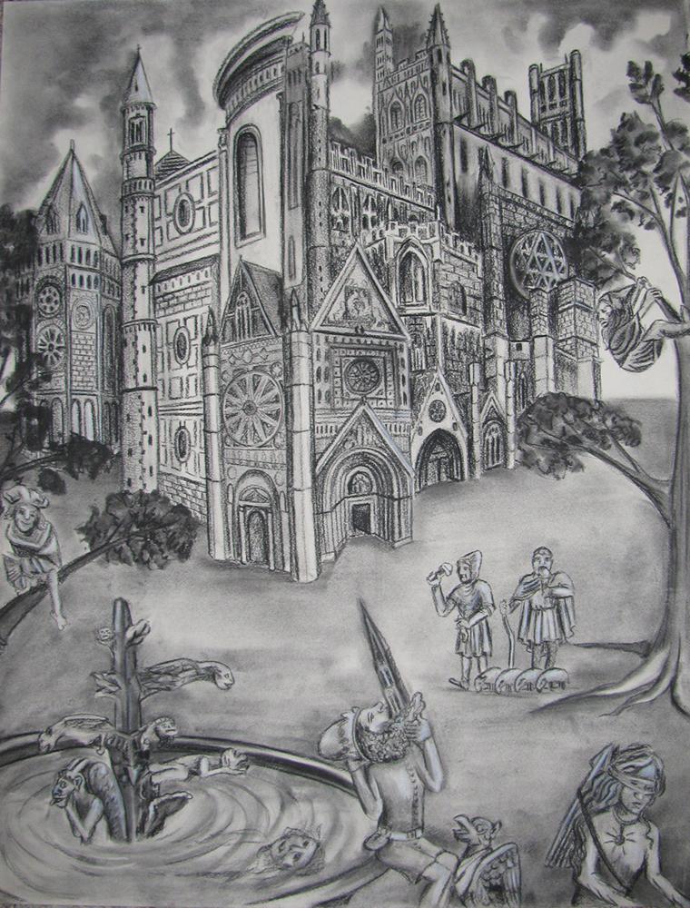 Gargoyles Charcoal Drawing Architecture