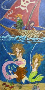 The Mermaids Hook Line and Sinker Acrylic Painting