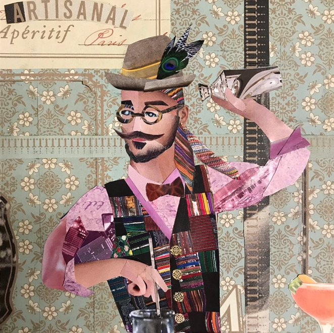 Hipster Bartender Making Artisanal Cocktails (Portrait of Matthew Pawloski) | 2018 | Collage | NFS