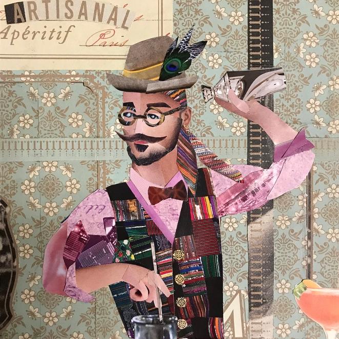 Hipster Bartender Making Artisanal Cocktails (Portrait of Matthew Pawloski)   2018   Collage   NFS